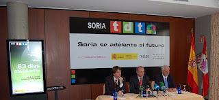El Ministro de Industria, Comercio e Industria, Miguel Sebastián en Soria el pasado 20 de mayo, anunciando el encendido digital completo en el piloto Soria TDT