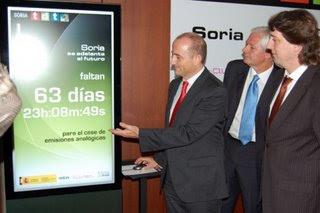 Ministro Miguel Sebastián con Alcalde del PSOE de Soria, Carlos Martínez, anunciando el encendido digital 20 de mayo de 2008