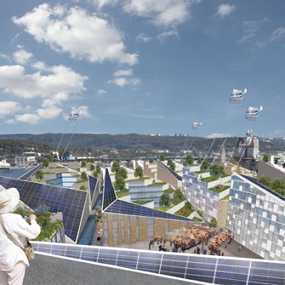 Renewable energy sources are harvested within the city and markets are omnipresent