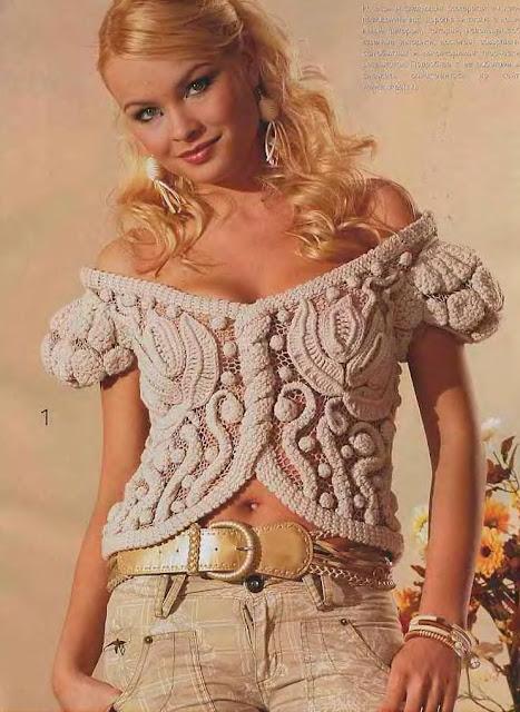 вязание крючком, блуза,