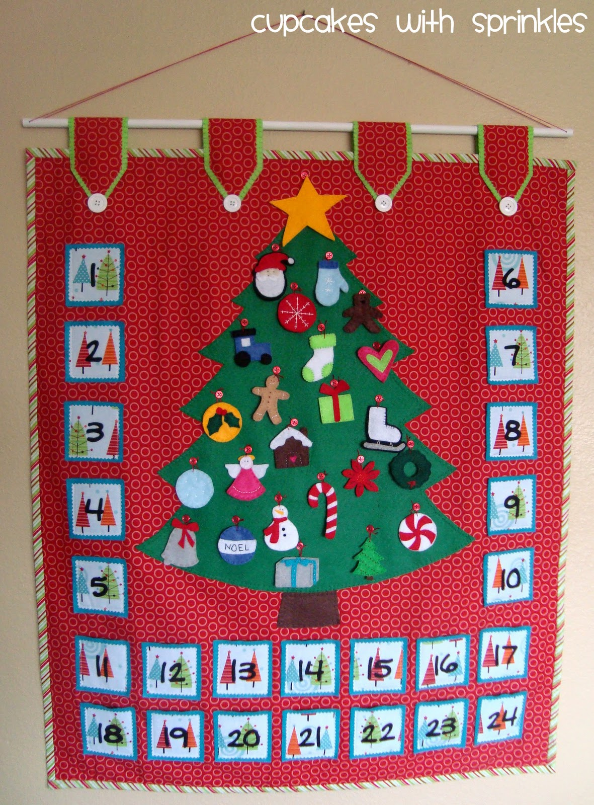 Sewn Advent Calendar Ideas : Cupcake with sprinkles advent calendar