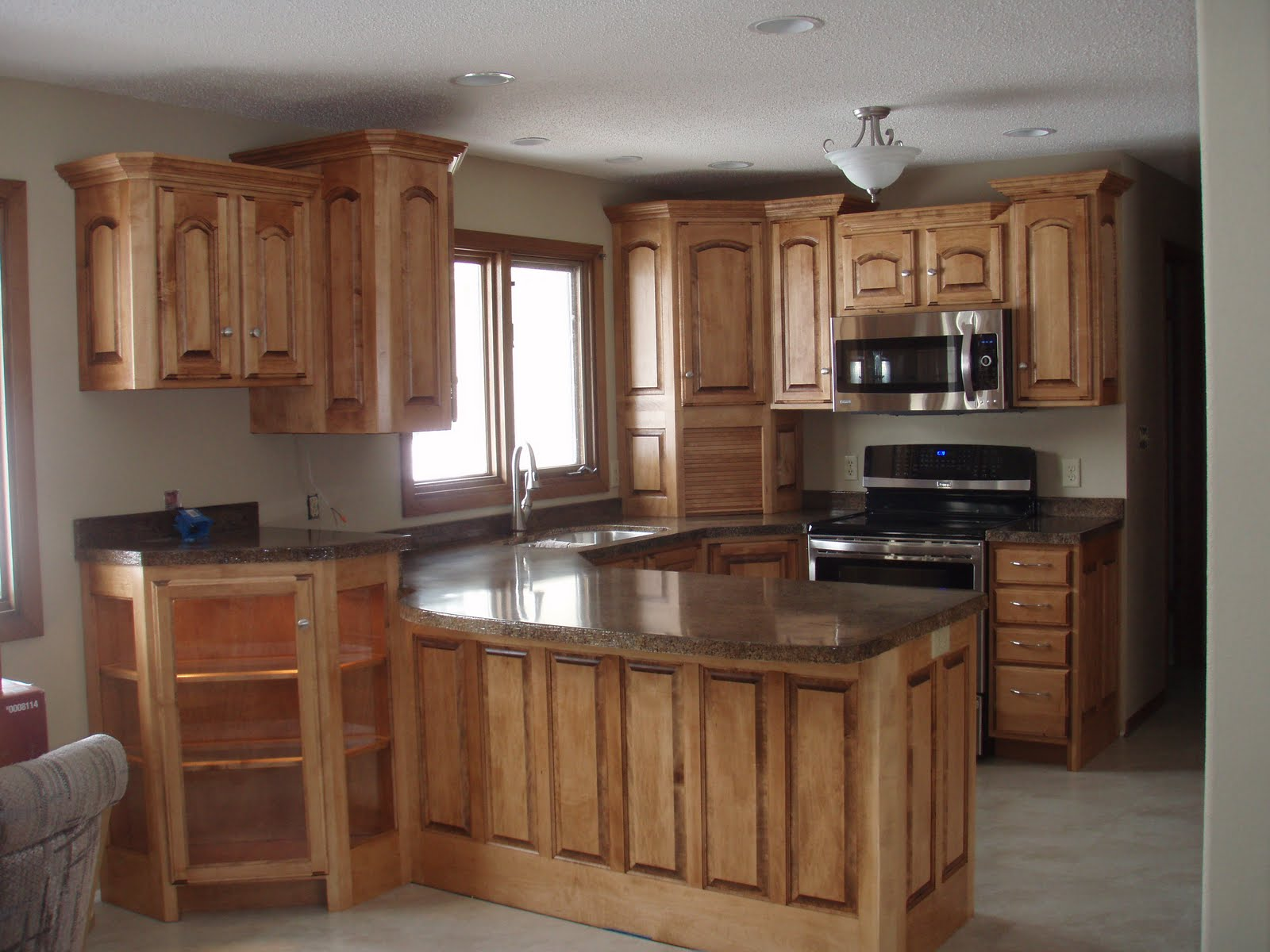 BACKER'S WOODWORKING: Maple Cabinets with Granicrete ... on Maple Cabinets With Black Countertops  id=58076