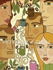 Volti di uomini e donne, disegno etnico con tazze di caffè