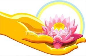 mano con fiore di loto