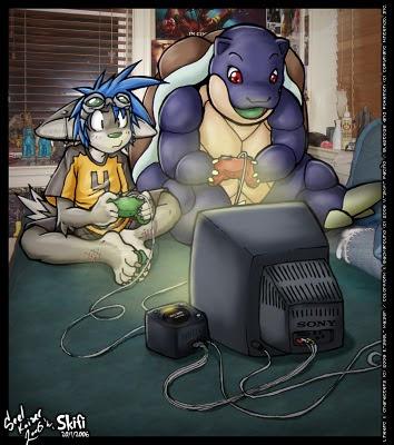 Personaggi dei cartoon che giocano al computer