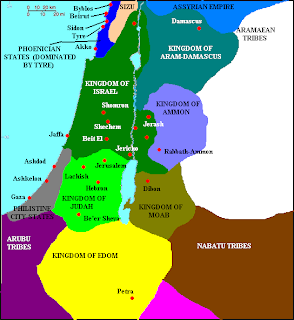 Map of Divided Kingdom of Israel and Judah and surrounds