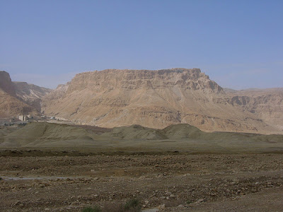 A view from afar of the masada fortress