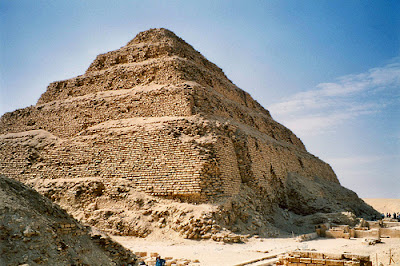 The step pyramid of Djoser at Saqqara, the first pyramid in Egyptian history
