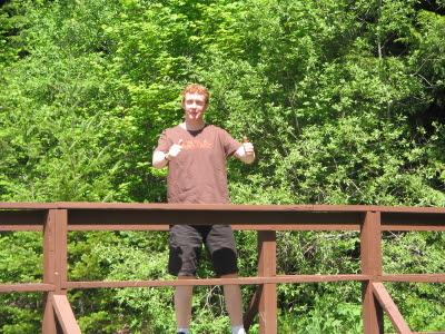 alex on a  bridge