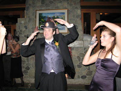 fraser and rebecca doing the YMCA