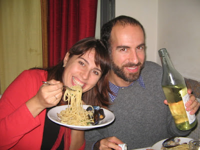 pasta and wine and masha and luca