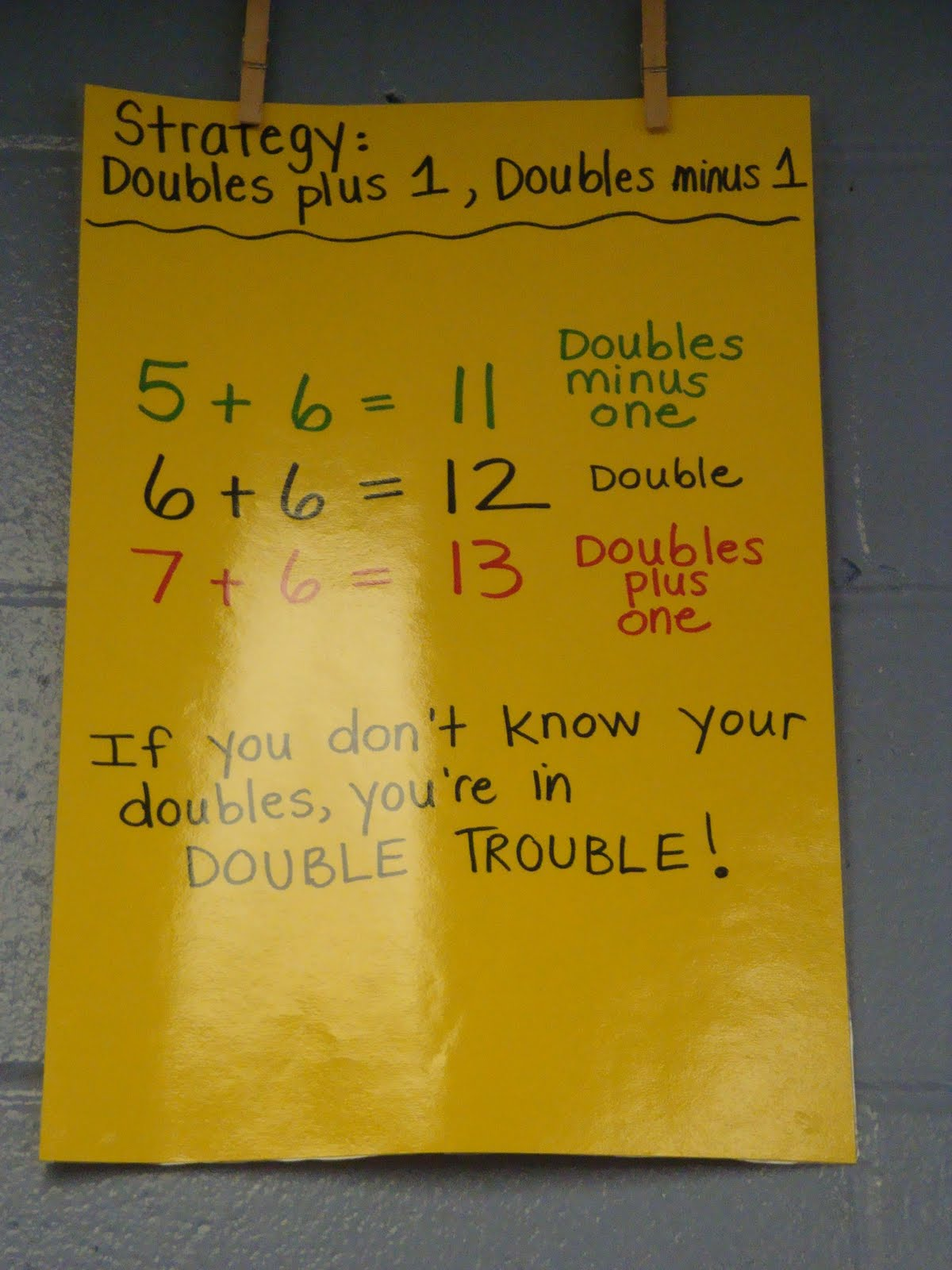 Free Doubles Plus One Anchor Chart This Blog Has