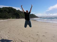 Jumping for joy in Byron Bay