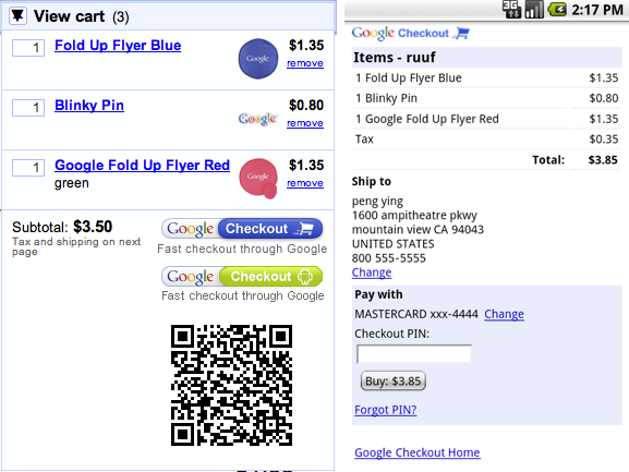 QR Code for Mobile Retail Payments by Google