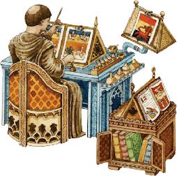 monje elaborando manuscritos iluminados