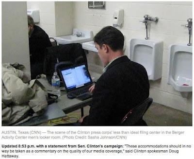 Journalist in Rest Room