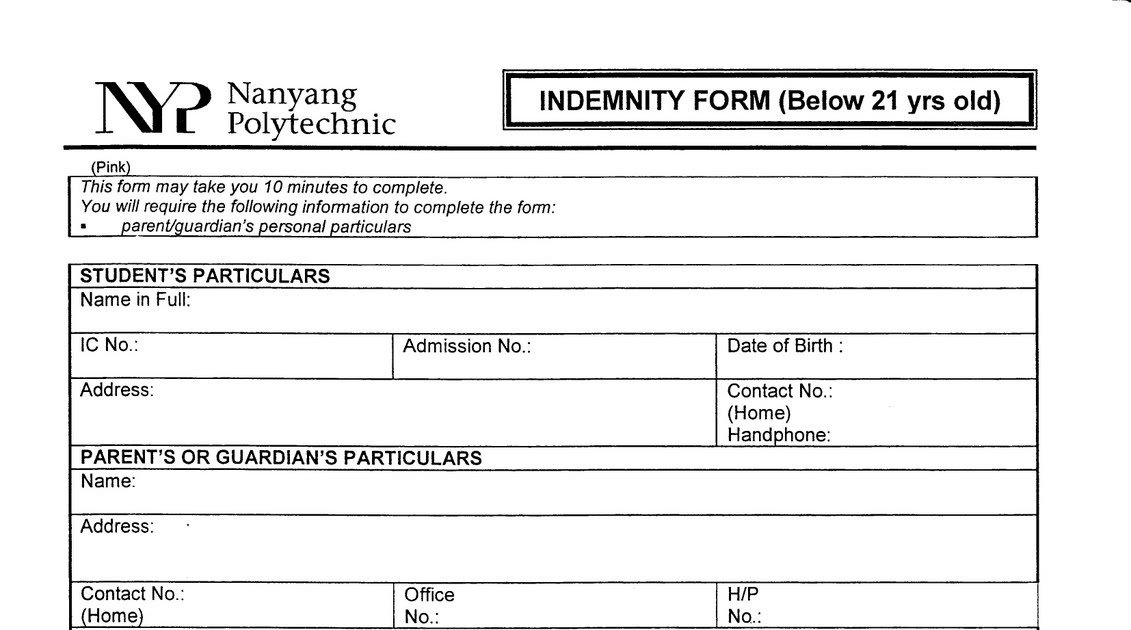 NYP TKD Indemnity form - indemnity form template