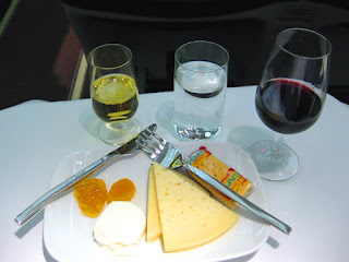 Business Class wine and cheese course aboard Iberia Airlines