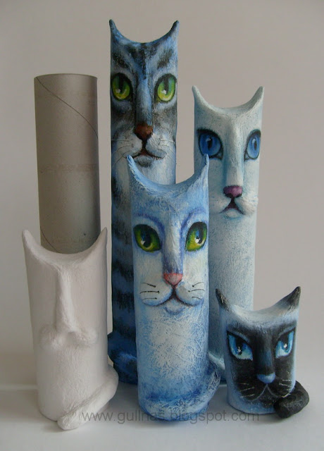 rulo-karton-kedi-akrilik- boya
