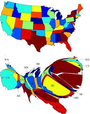 Il cartogramma degli Usa