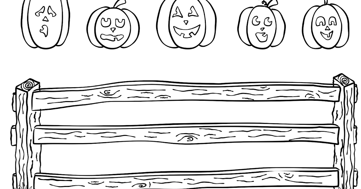 Booklet Five Pumpkins Sitting On A Gate Coloring Page 5