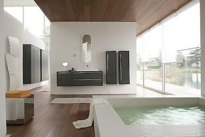este bao moderno de diseo de color verde oliva para las paredes gris para el piso y para la zona de la ducha lavadero doble con espacio de