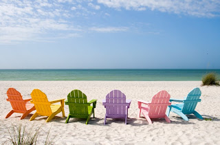 Beach with deck chairs