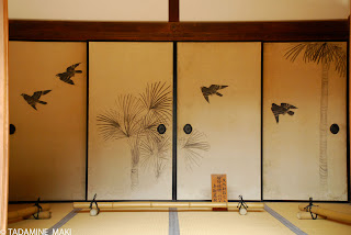 Papered sliding doors Fusuma in Japanese, with paintings of Syuro and Hakka-cho, which were import from China, at Ginkakuji Temple in Kyoto
