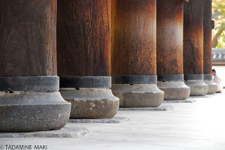 The basement of pillars of a gate at Naizenji Temple, in Kyoto