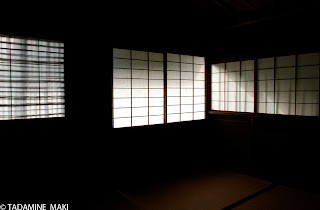 Shoji, a thin-papered window, in a house for tea ceremony, at Daitokuji Temple, in Kyoto, Japan