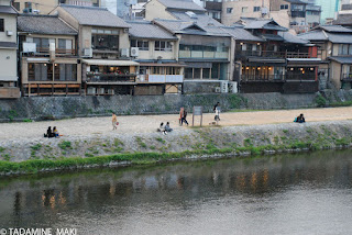 River bank for lovers, along Kamo River, in Kyoto