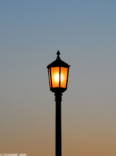 A lamp at dusk, Kyoto