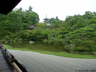 A well-balanced garden with raked pebbles, a pond and surrounding trees, at Ninnaji Temple, Kyoto, Japan