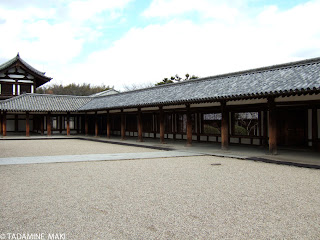 The orderly pillars and tile roofs, at Horyuji Temple in Nara