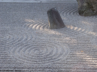 some ripples on white gravels, at Tofukuji Temple in Kyoto