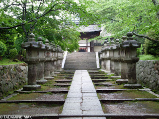 A path put along stone lanterns in Mii-dera Temple, near Kyoto