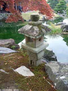 A stone lantern in a garden at Katsura Imperial Villa, Kyoto, Japan