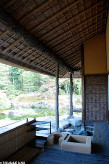 a veranda with some equipment for casual tea ceremony, at Katsura Imperial Villa, in Kyoto