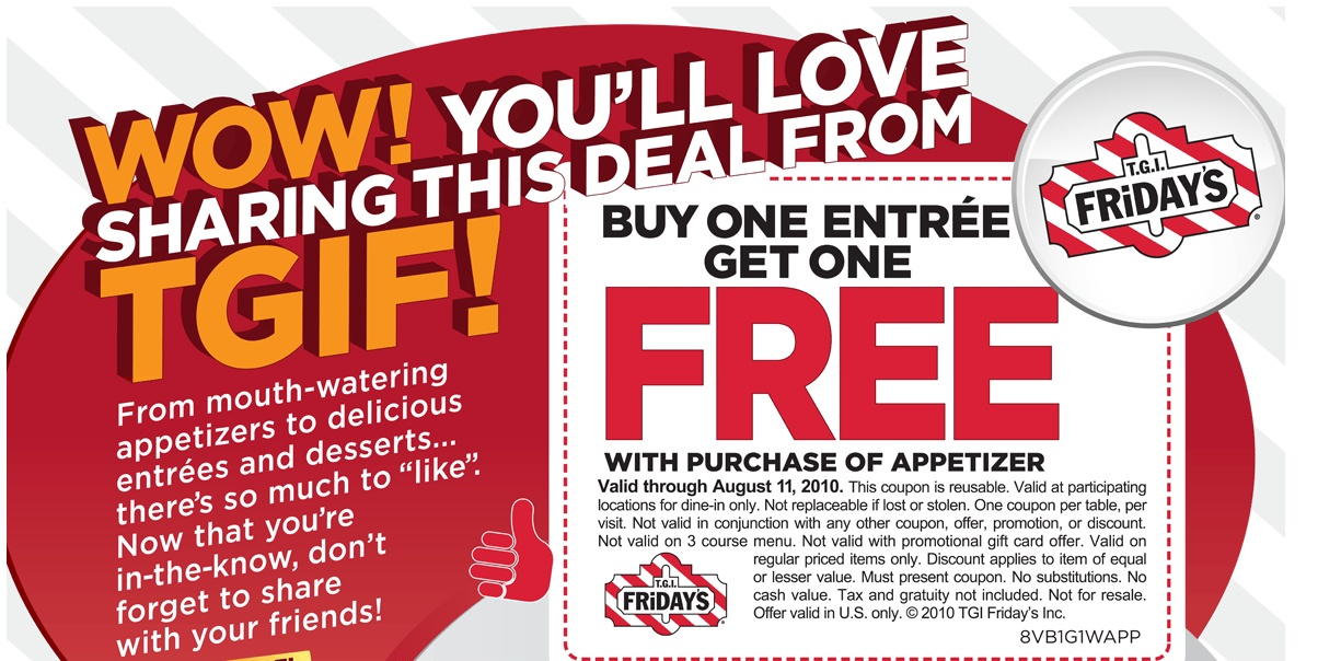 Buy One Get One Free Entree for TGI Fridays - Money Saving Parent