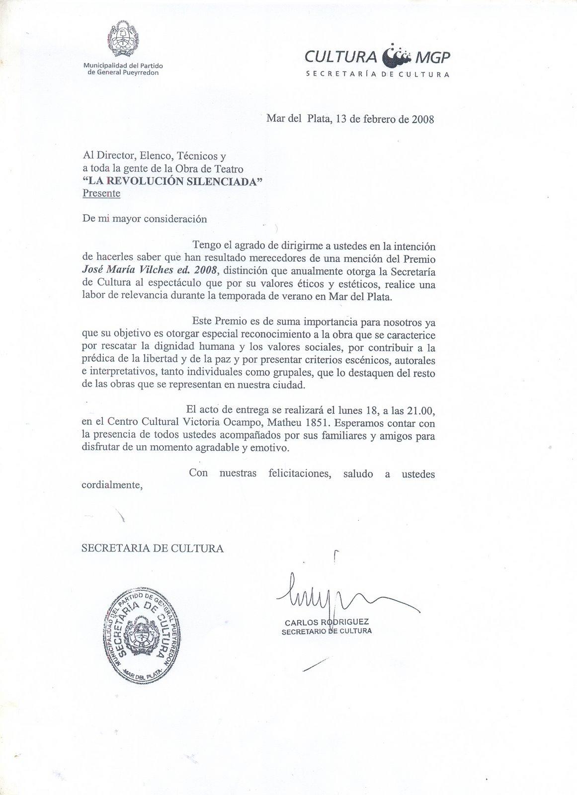 Carta de la Secretaria de Cultura
