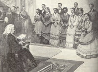 photo of Fisk Jubilee Singers, with their conductor