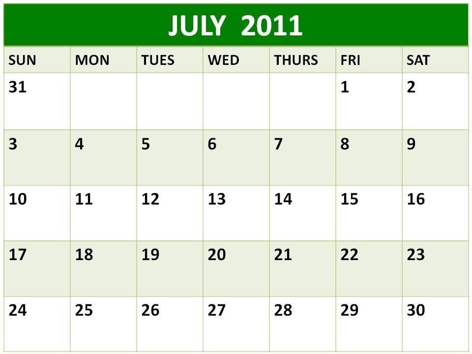 june july calendar 2011 - photo #11
