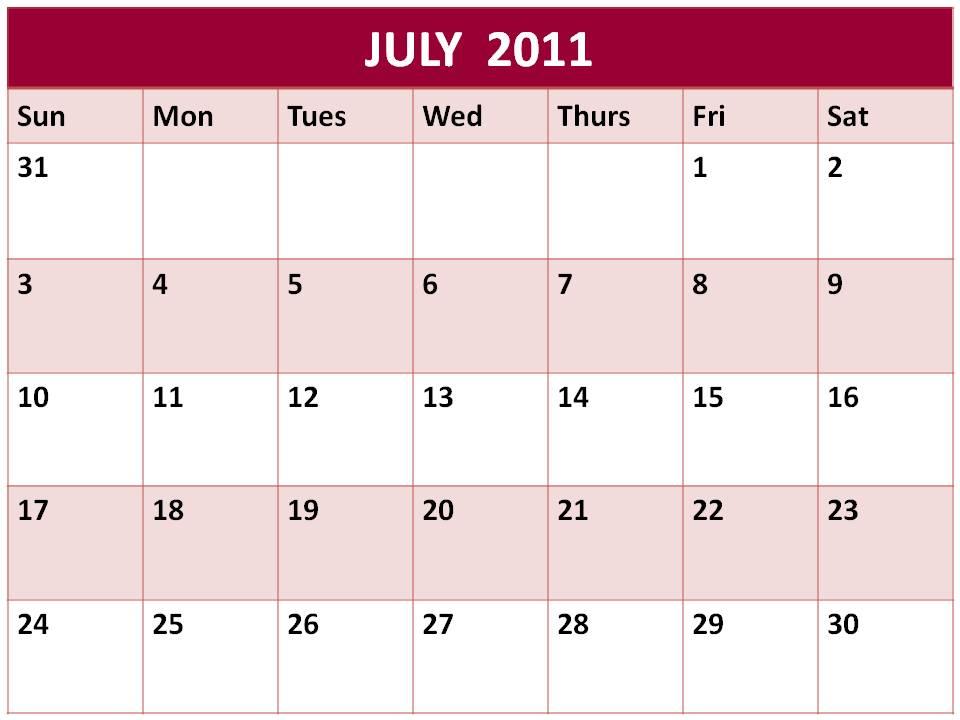 june july calendar 2011 - photo #12