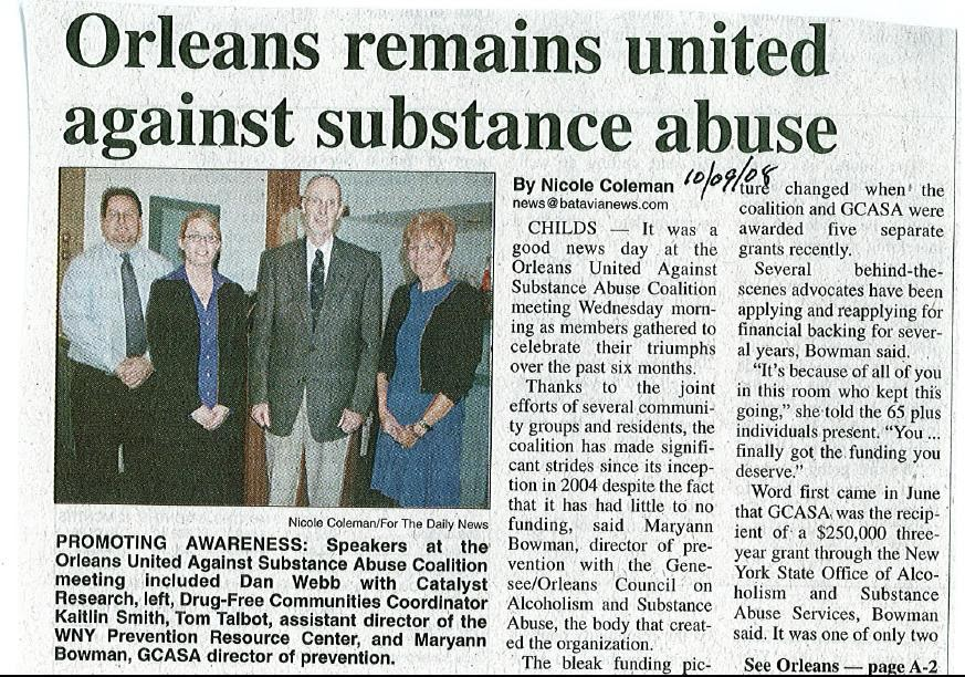 GCASA Cares: Great article in the Daily News on 10/09/08 on the meeting on 10/08 of Orleans ...