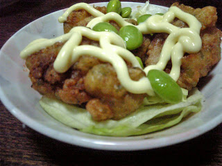 tori no karaage served with vegetables