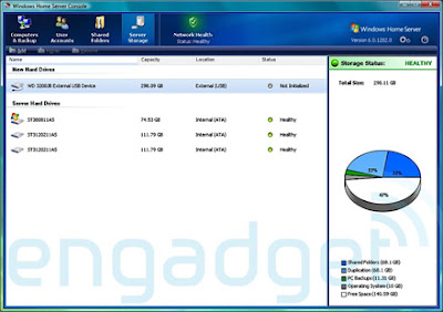 Screenshot Windows Home Server