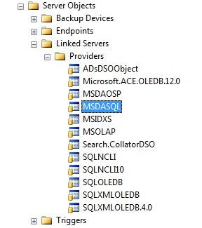 Providers in SSMS Object Explorer