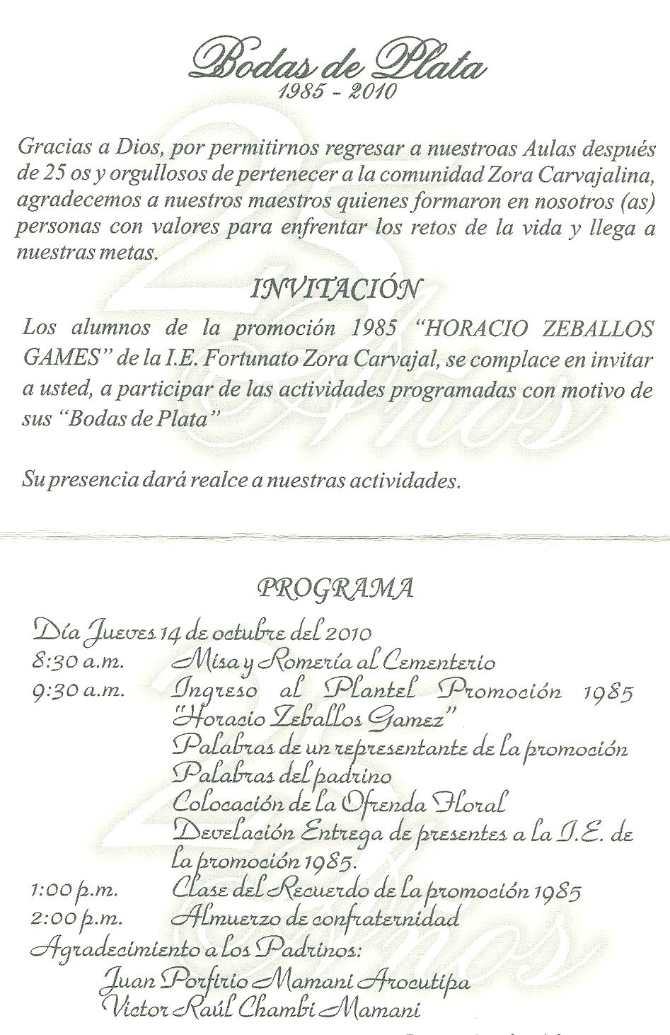 Promo85zoratacna Promocion 1985 Bodas De Plata