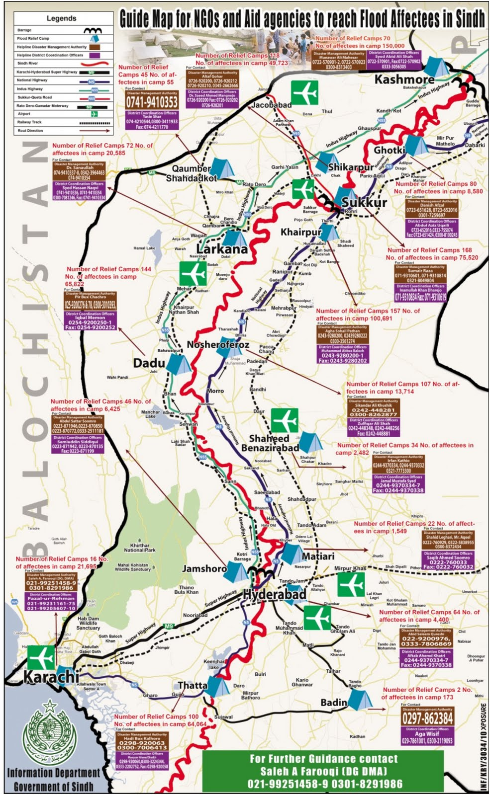 Detailed Map Of Flood Relief Camps In Sindh
