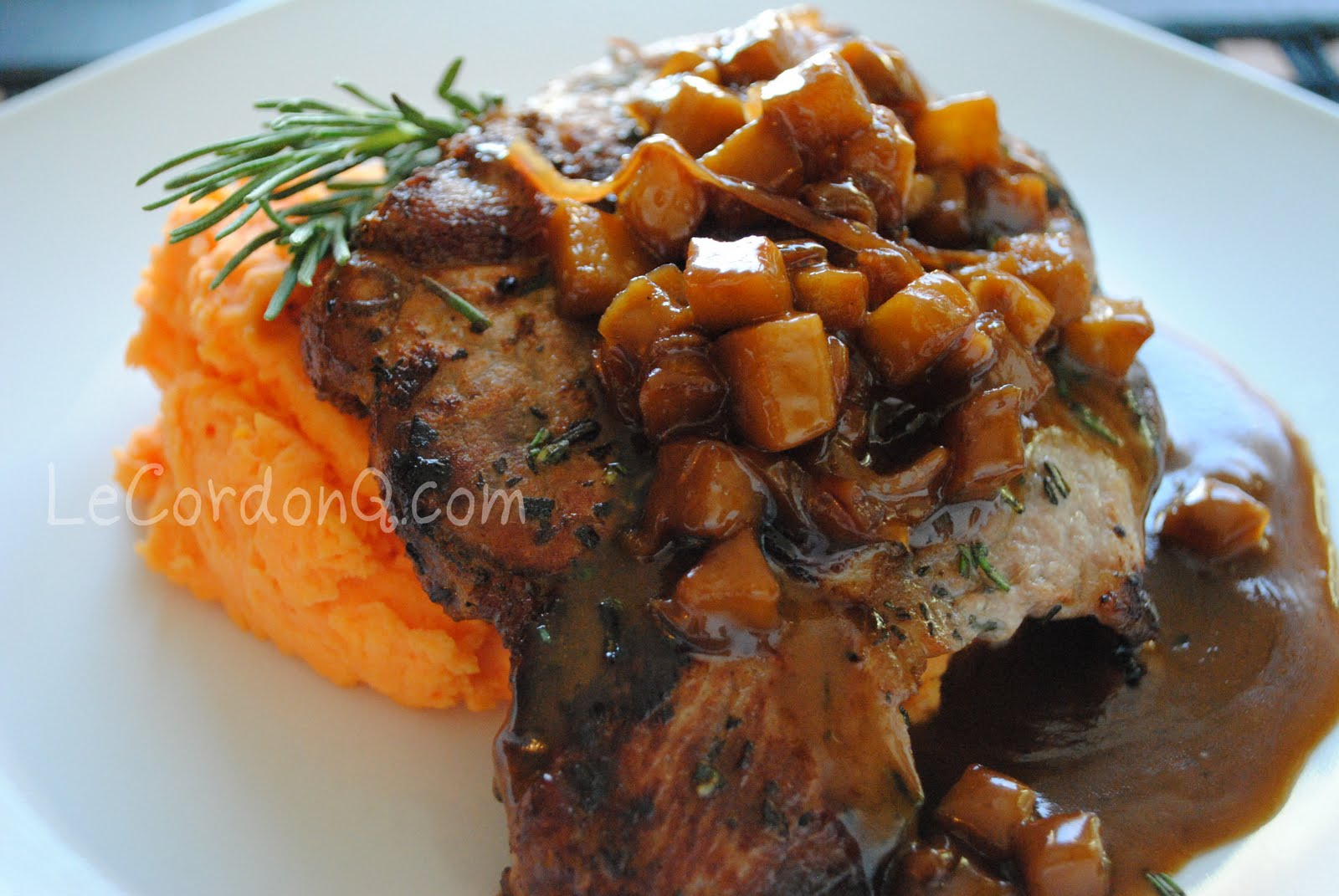 Balsamic Caramel Apple Pork Chops With Sweet Potato Mash The